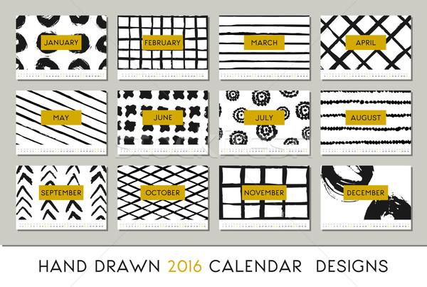 Сток-фото: 2016 · календаря · дизайн · шаблона · карт · размер