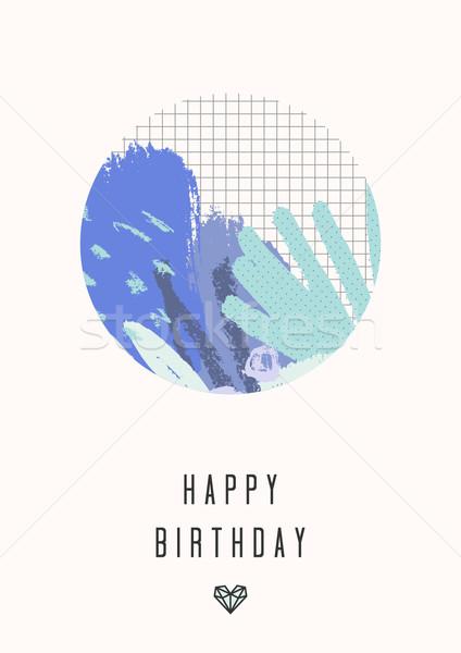 抽象的な コラージュ デザイン 青 紫色 手描き ストックフォト © ivaleksa