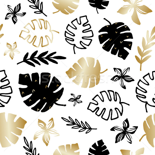 Stock photo: Tropical Foliage Seamless Pattern