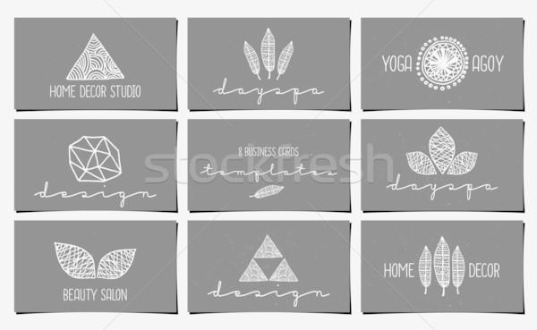 Foto stock: Cartão · de · visita · templates · coleção · conjunto · nove · moderno