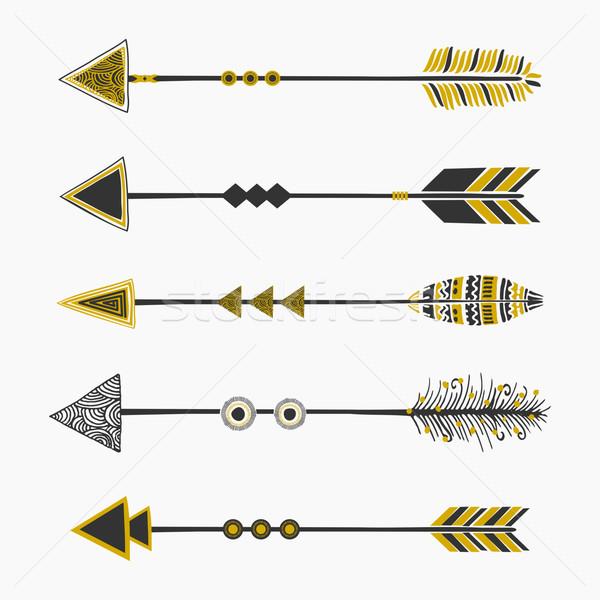 племенных стиль Стрелки коллекция набор пять Сток-фото © ivaleksa