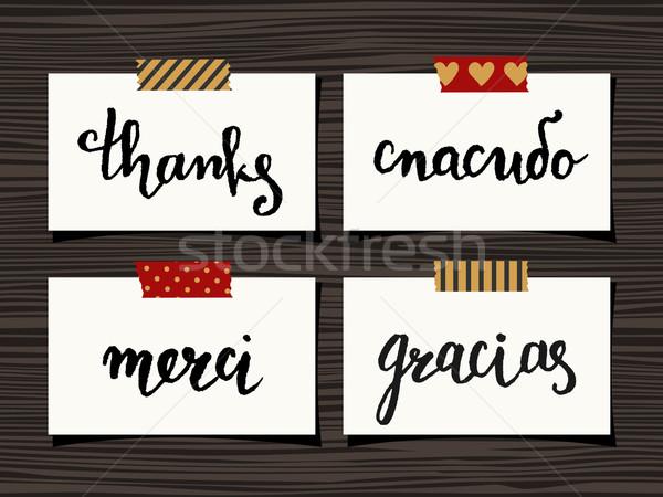 ストックフォト: ありがとう · カード · コレクション · セット · 4 · ノート
