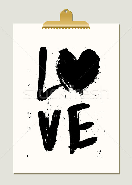 Black Paint Love Poster Stock photo © ivaleksa