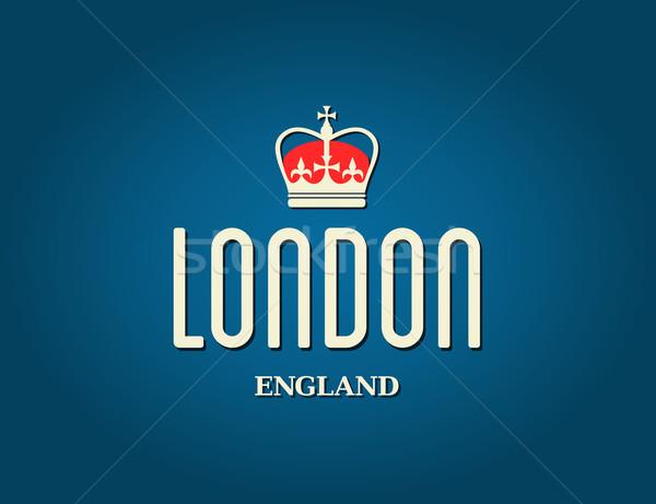 Londen wenskaart elegante ontwerp Blauw reizen Stockfoto © ivaleksa