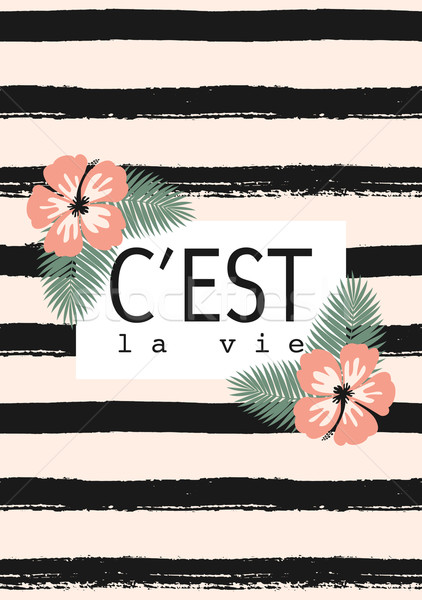 C'est La Vie Striped Card Design Stock photo © ivaleksa