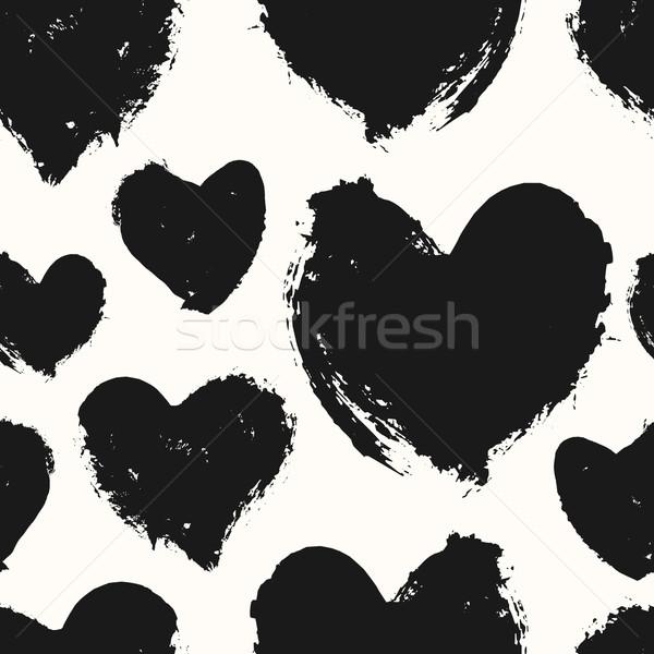 Hand Painted Hearts Pattern Stock photo © ivaleksa