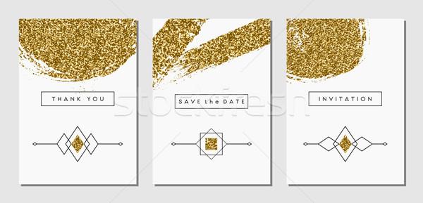 抽象的な デザイン カード セット 3  金 ストックフォト © ivaleksa
