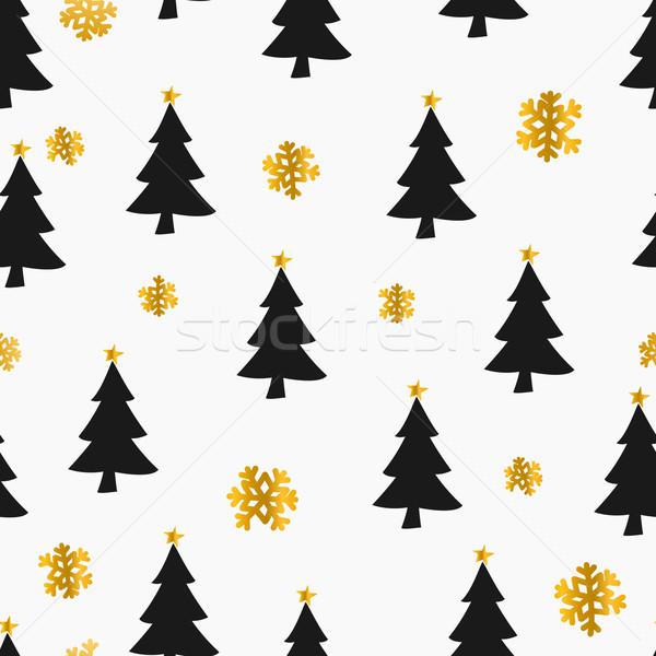 クリスマス シームレス 雪 木 ストックフォト © ivaleksa
