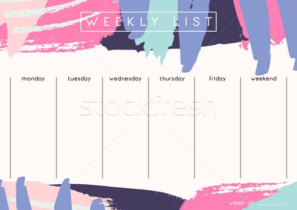Weekly Planner Template Stock photo © ivaleksa