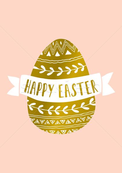 Húsvéti tojás üdvözlőlap kézzel rajzolt stílus arany szalag Stock fotó © ivaleksa