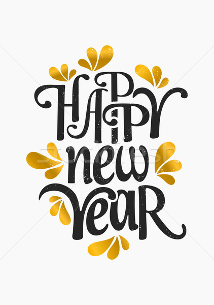Happy New Year Greeting Card Template Vector Illustration © Iveta
