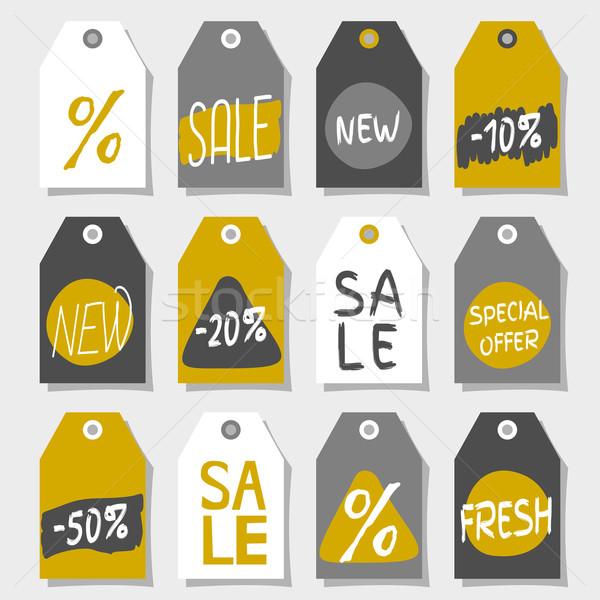 Abstrato compras de vendas etiqueta projetos conjunto Foto stock © ivaleksa