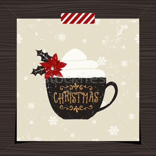 Рождества шаблон дизайна древесины черный кофе Сток-фото © ivaleksa