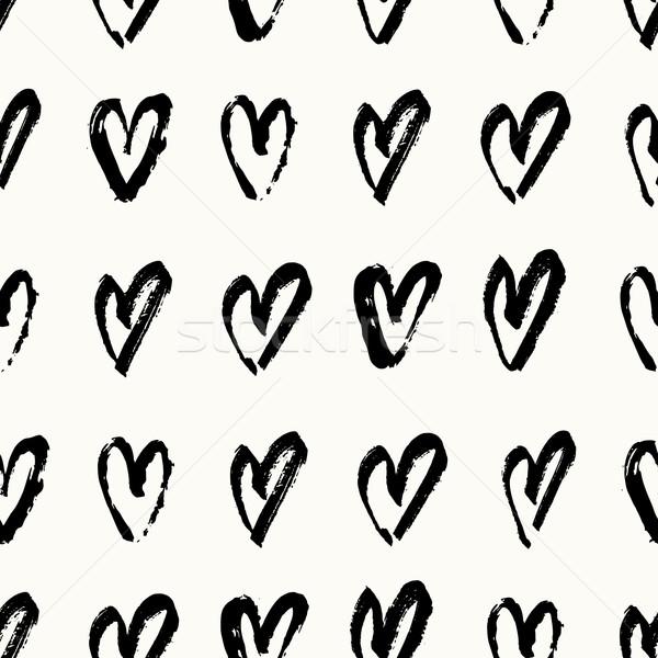 手 描いた 心 パターン 手描き シームレス ストックフォト © ivaleksa