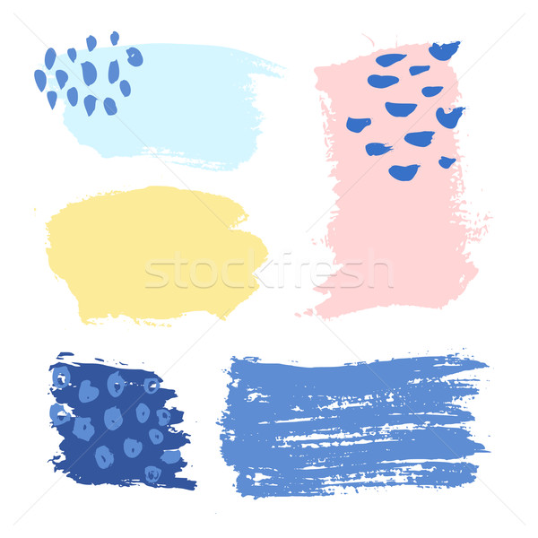 Stock photo: Colorful Brush Strokes Set