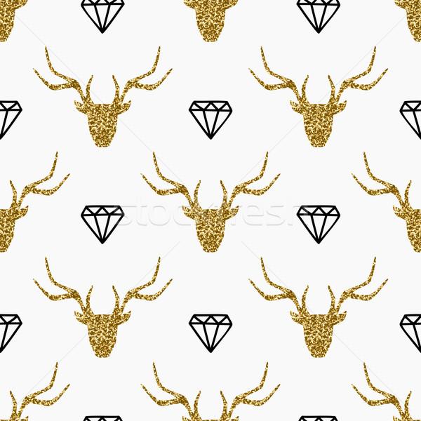 Deer Heads and Diamonds Seamless Pattern Stock photo © ivaleksa