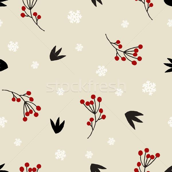 Navidad floral invierno rojo bayas Foto stock © ivaleksa