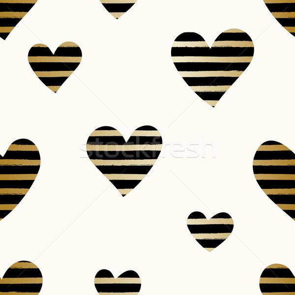 Gestreept harten patroon naadloos herhalen zwarte Stockfoto © ivaleksa