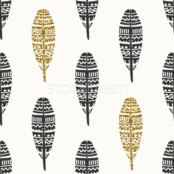 Stockfoto: Zwarte · goud · veren · naadloos · herhalen