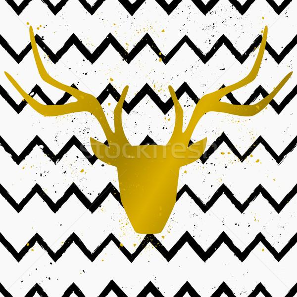 ストックフォト: 鹿 · 頭 · 手描き · スタイル · シームレス