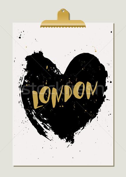 Black Heart London Poster Stock photo © ivaleksa