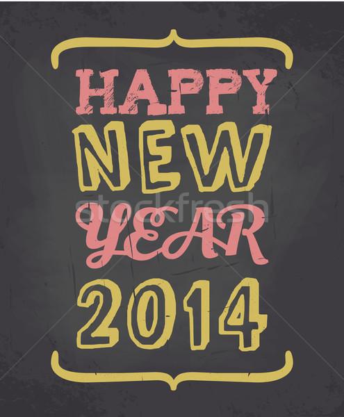Stock photo: Chalkboard Happy New Year Card