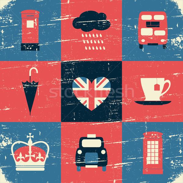 London szimbólumok klasszikus kollázs stílus üdvözlőlap Stock fotó © ivaleksa