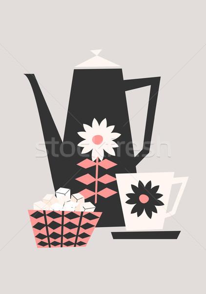 レトロな コーヒー セット スタイル 実例 ポット ストックフォト © ivaleksa