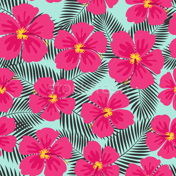 Stock photo: Hibiscus Flowers and Palm Leaves Seamless Pattern