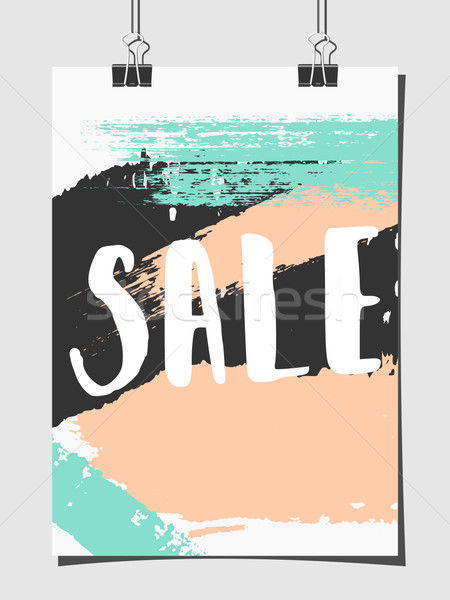 Abstract Brush Strokes Sale Poster Stock photo © ivaleksa