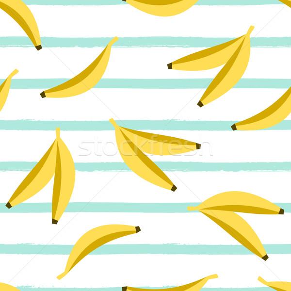 ストックフォト: シームレス · バナナ · パターン · 水色 · 白