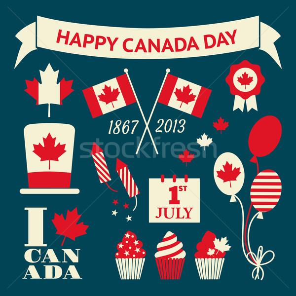 Foto stock: Canadá · dia · projeto · elementos · conjunto · estilo · retro