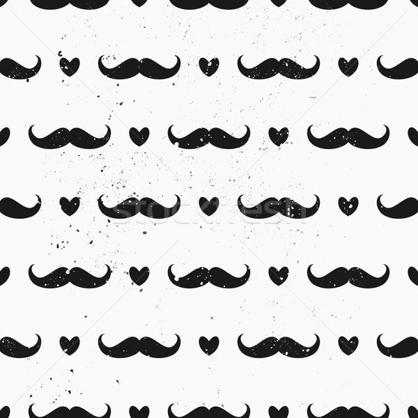 Mustaches and Hearts Seamless Pattern Stock photo © ivaleksa
