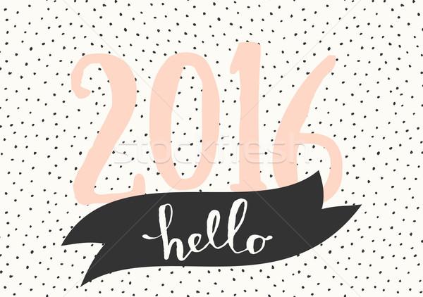 2016 üdvözlőlap sablon tipográfiai terv hello Stock fotó © ivaleksa