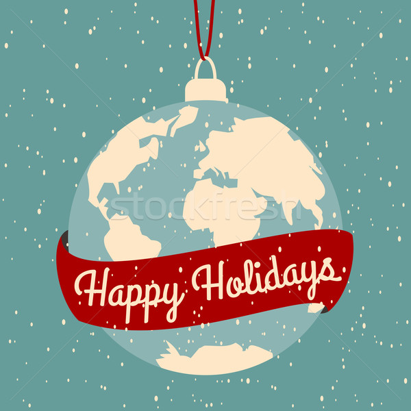 Christmas wenskaart ontwerp achtergrond aarde Blauw Stockfoto © ivaleksa