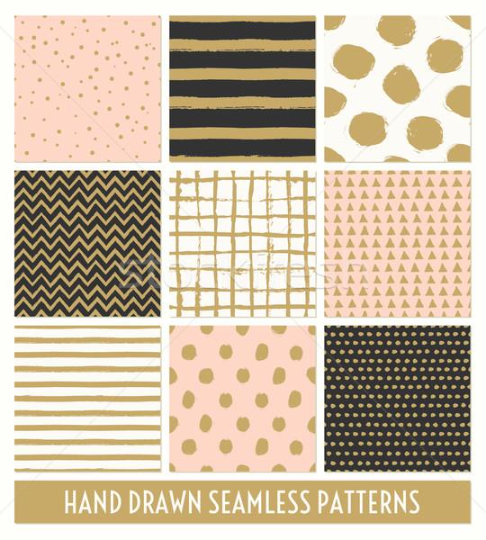 Hand Drawn Seamless Patterns Collection Stock photo © ivaleksa