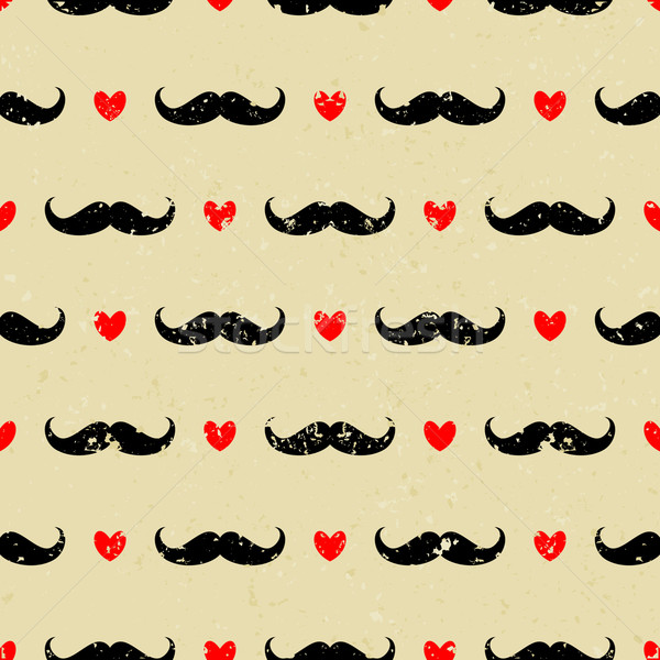 Seamless Mustache and Hearts Background Stock photo © ivaleksa