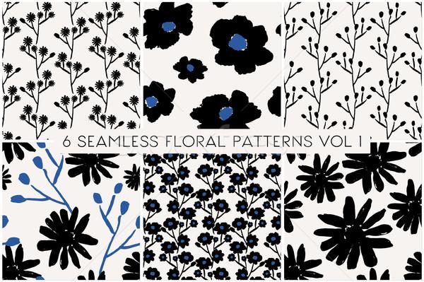 Foto stock: Floral · padrão · coleção · conjunto · mão · pintado