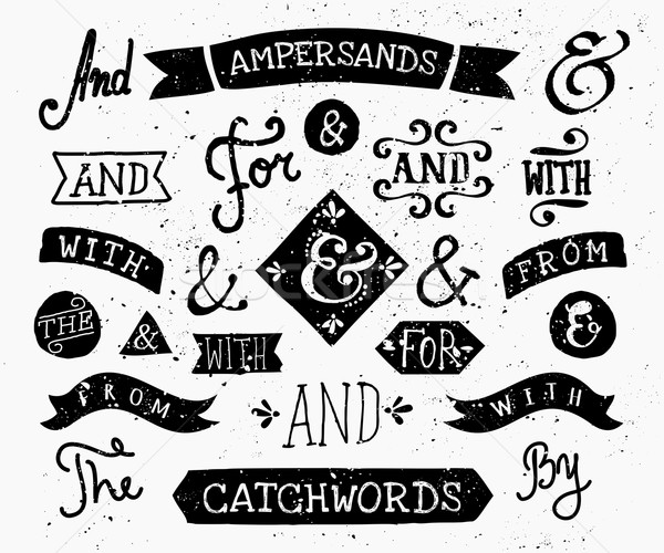 Hand Drawn Ampersands and Catchwords Stock photo © ivaleksa