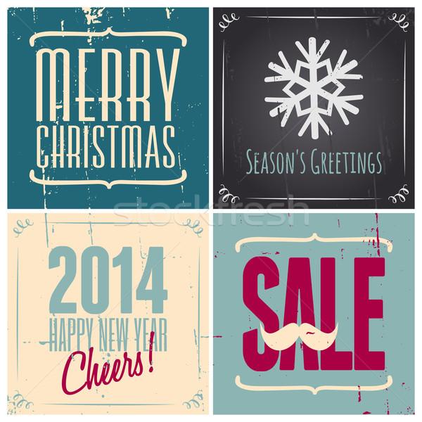 Stock fotó: Karácsony · kártyák · gyűjtemény · szett · négy · retró · stílus