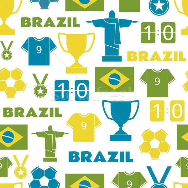 Brazil Football Seamless Pattern Stock photo © ivaleksa