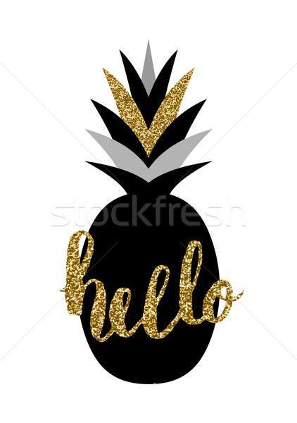 Black and Gold Pineapple Design Stock photo © ivaleksa