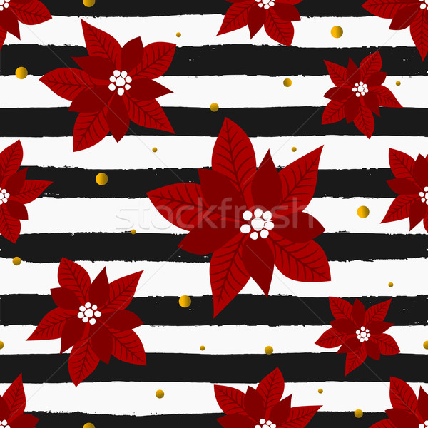 Red Poinsettias and Stripes Seamless Pattern Stock photo © ivaleksa