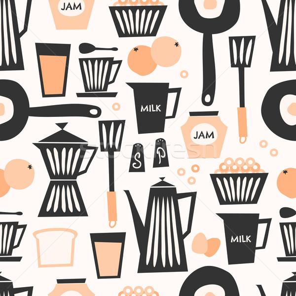 Naadloos ontbijt patroon stijl herhalen zwarte Stockfoto © ivaleksa