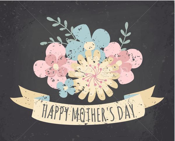 Flores silvestres pizarra tarjeta de felicitación estilo madres día Foto stock © ivaleksa