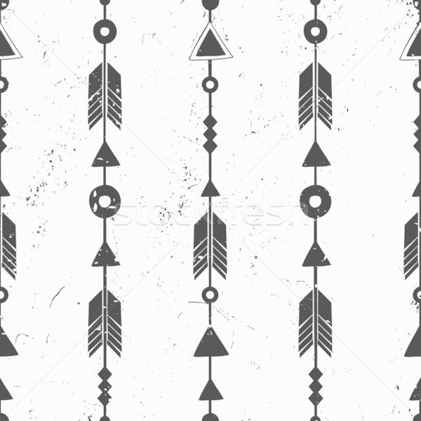 Törzsi stílus nyilak végtelen minta feketefehér mértani Stock fotó © ivaleksa