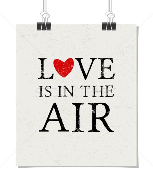 Szeretet levegő poszter minimalista terv papír Stock fotó © ivaleksa