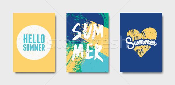 Stock fotó: Tipográfiai · nyár · terv · kártyák · gyűjtemény · szett