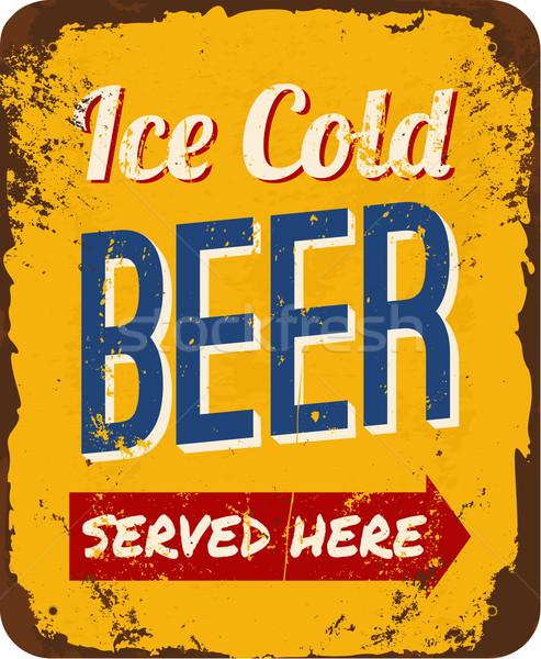 Klasszikus sör konzervdoboz felirat fém jég Stock fotó © ivaleksa