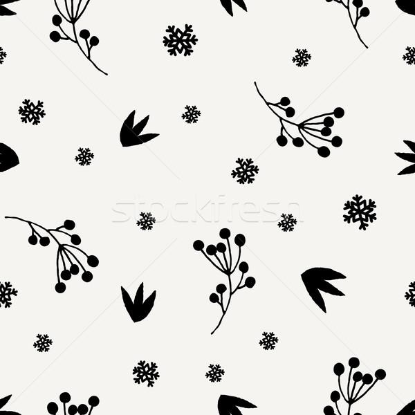 Noël floral hiver baies flocons de neige Photo stock © ivaleksa
